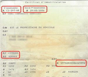 Modèle Certificat d'Immatriculation