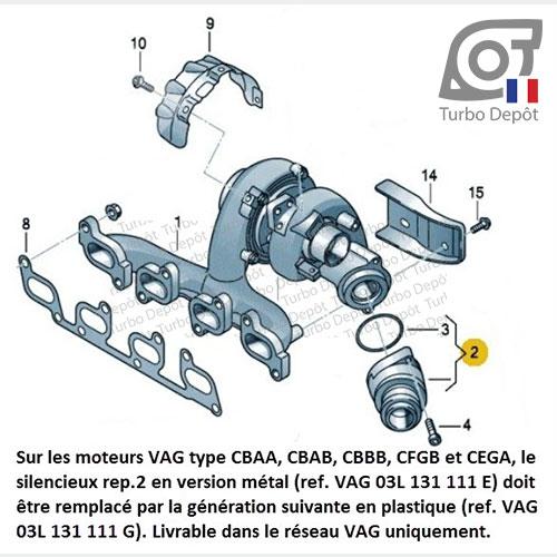 Information Technique pour turbo BorgWarner 5303-970-0132, 5303-970-0139, 5303-970-0152, 5303-970-0205 et 5303-970-0206, face 7