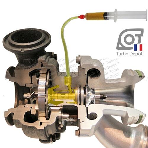 Seringue et tube pour pré-graissage en huile de l'ensemble tournant du turbo, vue sur turbo