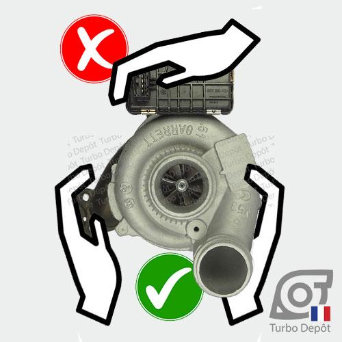 Précautions lors de la manipulation d'un turbo TR11031W avec boitier actuateur électronique 743507, 757608 et 765155