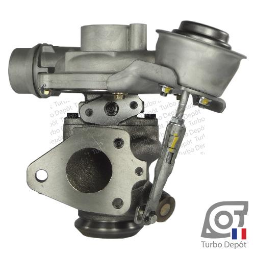 Turbo TR10028P pour GARRETT 801374, face 2, sur MERCEDES-BENZ CITAN 108/109 (2012-…) DIESEL CDI 75/90cv et RENAULT CAPTUR (2013-…) DIESEL 1.5 dCi 90cv