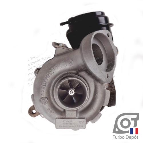 Turbo TR11068Z pour GARRETT 717478, 750431, face 1, sur BMW 320d (E46) (1998-2007) 2.0 DIESEL 150cv