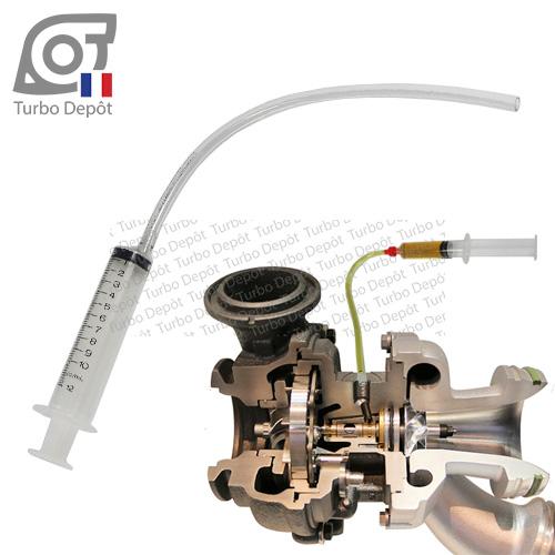 Seringue et tube SR126H pour pré-graissage en huile de l'ensemble tournant du turbo, vue sur turbo