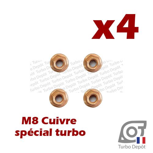 Lot de 4 écrous M8 cuivre BL161K turbodepot