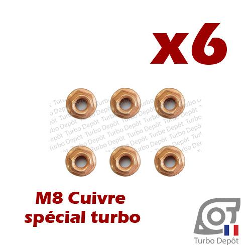 Lot de 6 écrous M8 cuivre BL162L turbodepot