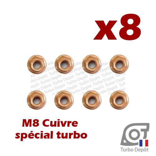 Lot de 8 écrous M8 cuivre BL163M turbodepot