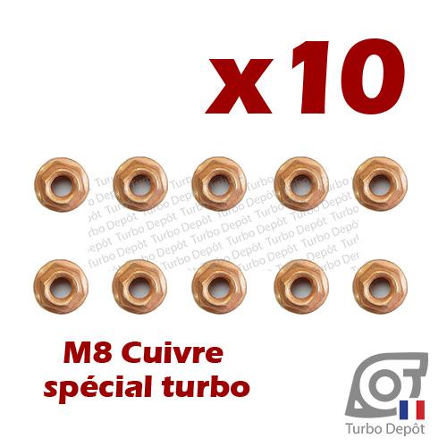 Lot de 10 écrous M8 cuivre BL164P turbodepot