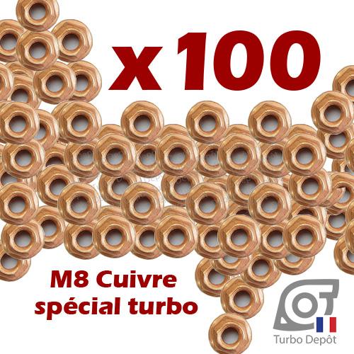 Lot de 100 écrous M8 cuivre BL165T turbodepot