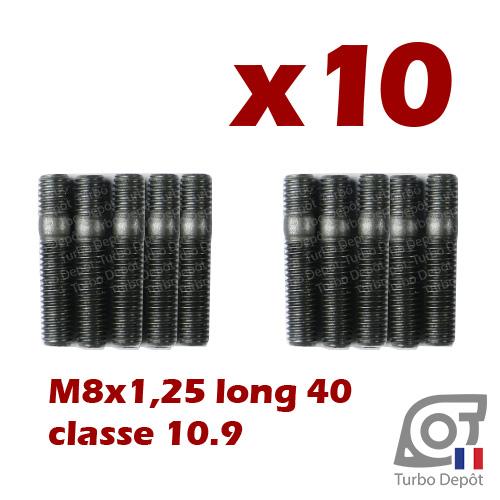 Lot 10 goujons M8 longueur 40mm classe 10.9 BL169Y turbodepot