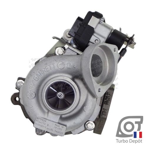 Turbo TR11097T pour GARRETT 762965 et 763091, face 1, sur BMW 520d (E60/E61) (2003-2010) DIESEL 2.0 150/163cv