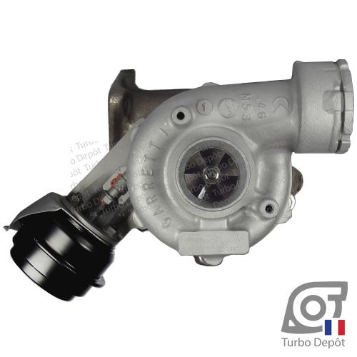 Turbo TR11102Z pour GARRETT 758219, face 1, sur AUDI A4 (2004-2008) DIESEL 2.0 TDI 126/136/140cv et AUDI A6 (2004-2011) DIESEL 2.0 TDI 121/136/140cv