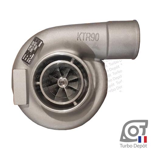 Turbo TR100198P pour KOMATSU 6506-21-5010, 6506215010 face 1, sur KOMATSU WA470-6, moteur SAA6D125E-5 DIESEL 11.04 litres 273cv