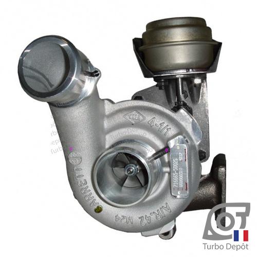 Turbo TR11195K pour GARRETT 716665-0001, 716665-0002, 716665-0003 face 1, sur ALFA-ROMEO 147 (2000 à 2010) DIESEL 1.9 JTD 126/136/140cv, ALFA-ROMEO 156 (1997 à 2007) DIESEL 1.9 JTD 126/136/140/150cv, ALFA-ROMEO GT (2003 à 2010) DIESEL 1.9 JTD 150cv et, FIAT STILO (2001 à 2007) DIESEL 1.9 JTD 126/136/140cv